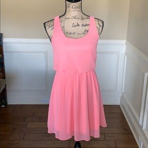 Lush Coral Sleeveless Mini Dress